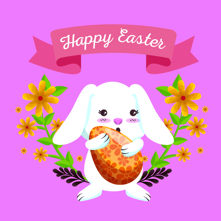 happy rabbit with egg and flowers plants vector illustration Archivio Fotografico - 125837460