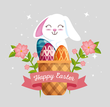 rabbit with eggs decoration inside basket and flowers vector illustration Archivio Fotografico - 125837464