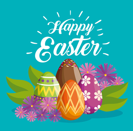 happy easter celebration with eggs decoration vector illustration 일러스트