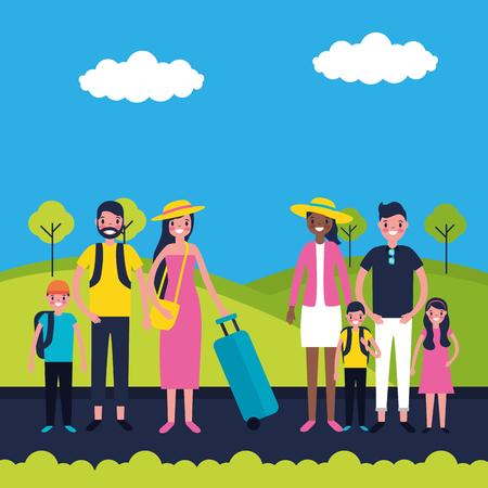 outdoor vacations familys happy travel vector illustration