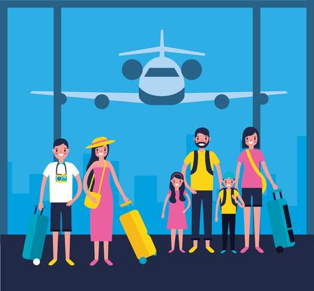 Outdoor-Urlaub-Familien-Flughafen-Reise-Vektor-Illustration Vektorgrafik