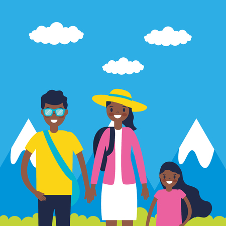 outdoor vacations mountains family smiling vector illustration