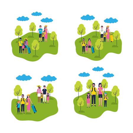 outdoor vacations park familys enjoy vector illustration
