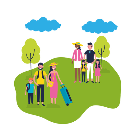 outdoor vacations park family couple luggages enjoy vector illustration Illustration