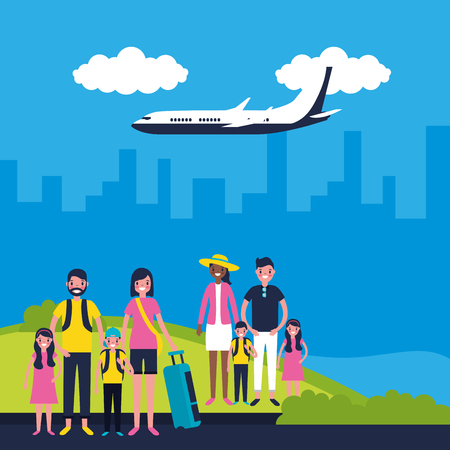 outdoor vacations family airport city travel vector illustration