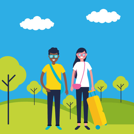 outdoor vacations couple park happy vector illustration