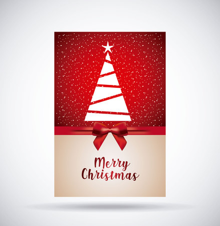 merry christmas decoration greeting card vector illustration