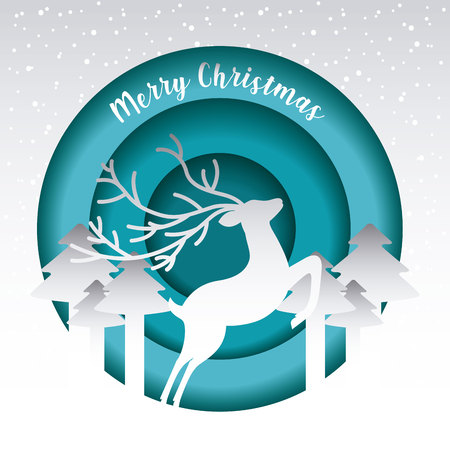 deer forest trees badge merry christmas card vector illustration Illustration