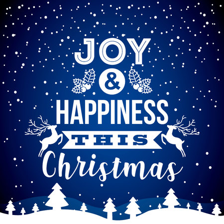 joy and happiness this christmas snow tree blue background vector illustration