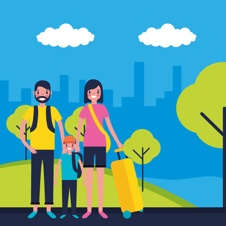 outdoor vacations city street couple with kid vector illustration
