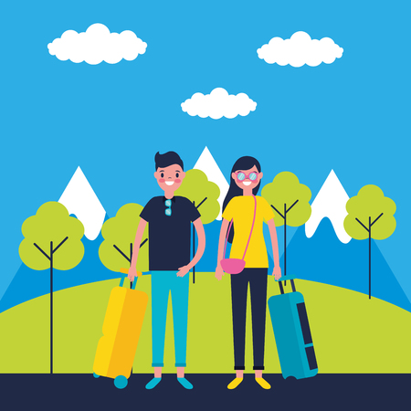 outdoor vacations cute couple holding luggage park travel mountains vector illustration Foto de archivo - 125837523