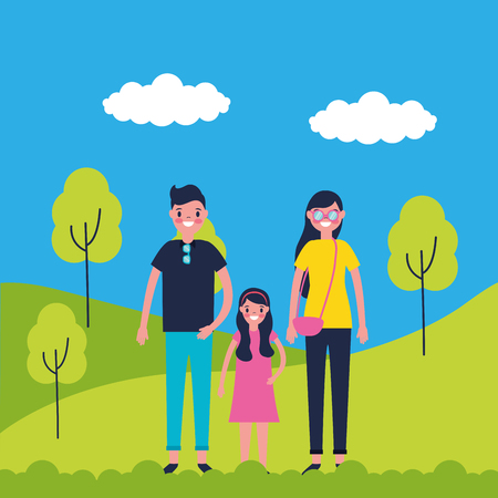 outdoor vacations park happy family travel enjoy vector illustration Foto de archivo - 125837525