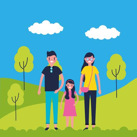 outdoor vacations park happy family travel enjoy vector illustration Illustration