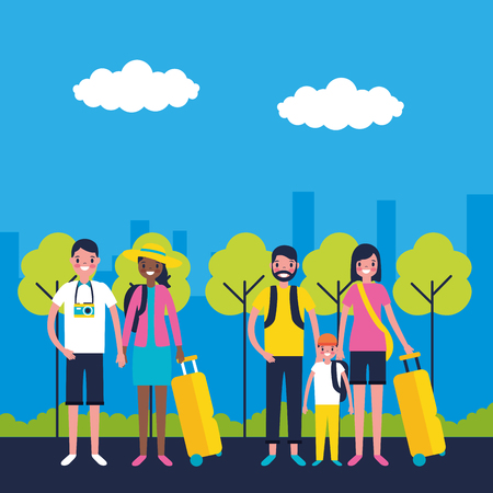 outdoor vacations couple and family park street vector illustration Standard-Bild - 115989568