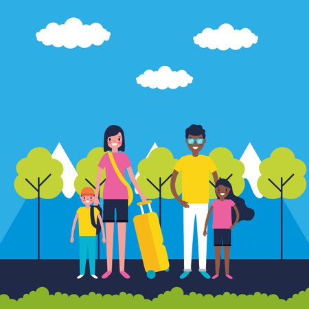 outdoor vacations mountains happy family travel vector illustration