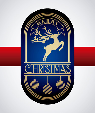 merry christmas label deer balls decoration vector illustration