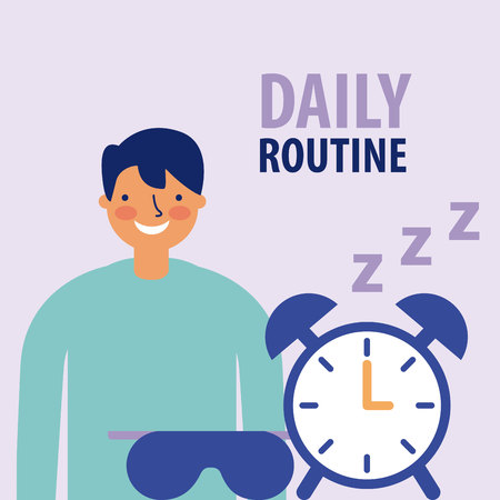 daily routine man smiling wake up clock vector illustration