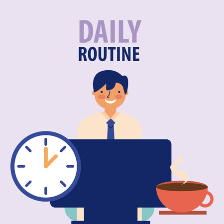 daily routine man office work vector illustration