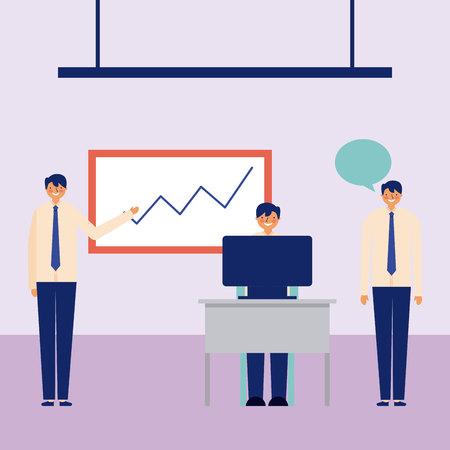 active breaks men office graphic statistics vector illustration