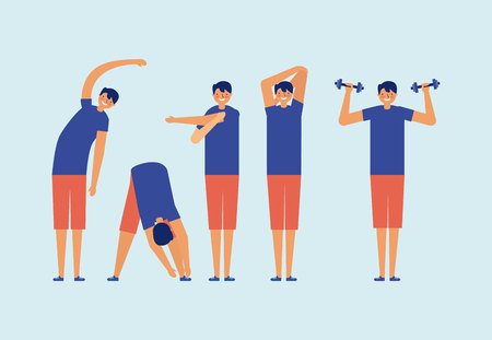 active breaks men doing exercise vector illustration