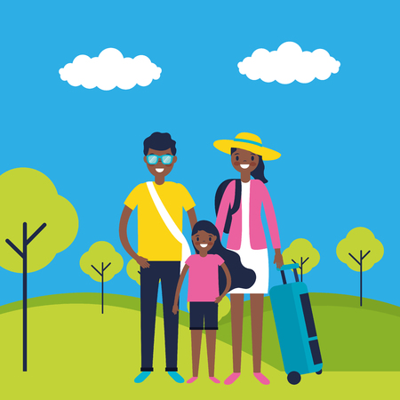 outdoor vacations afroamerican couple and kid travel vector illustration Иллюстрация