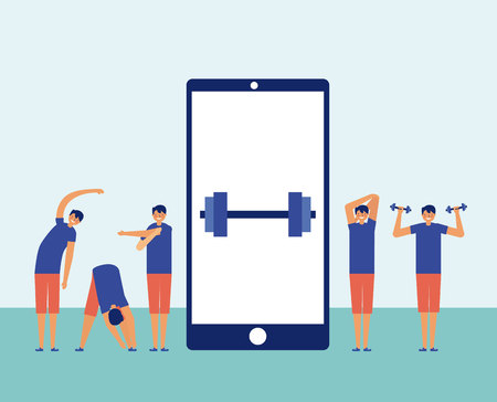 man doing exercise smartphone screen weight active breaks vector illustration
