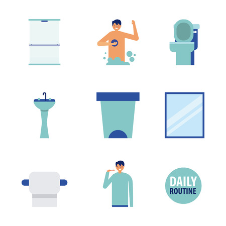 man daily routine before leaving vector illustration Illustration
