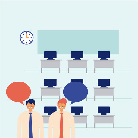 active breaks men talking office vector illustration