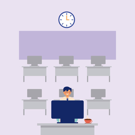 daily routine man working office vector illustration