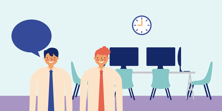 men talking active breaks office vector illustration