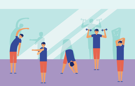 man stretching arms doign exercise active breaks vector illustration