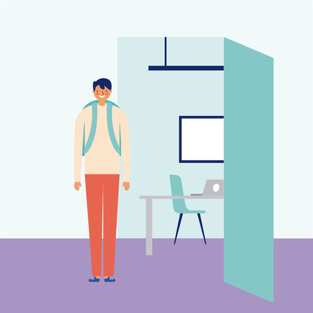 daily routine boy going class vector illustration Illustration