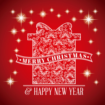 merry christmas greeting card happy new year vector illustration
