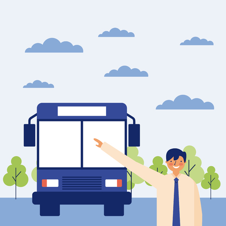 daily routine in the bus stop vector illustration