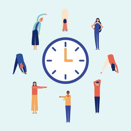 clock people doing exercise active break vector illustration Illustration