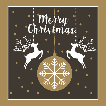 hanging deer ball merry christmas decoration vector illustration