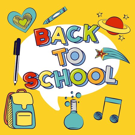icons bubble back to school background vector illustration