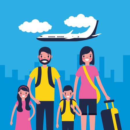 outdoor vacations city airplane family travel vector illustration Illustration