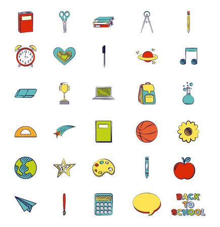 back to school background objects elements vector illustration