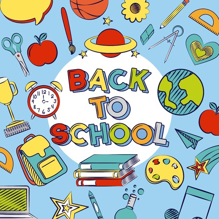 background science math literature sport back to school vector illustration