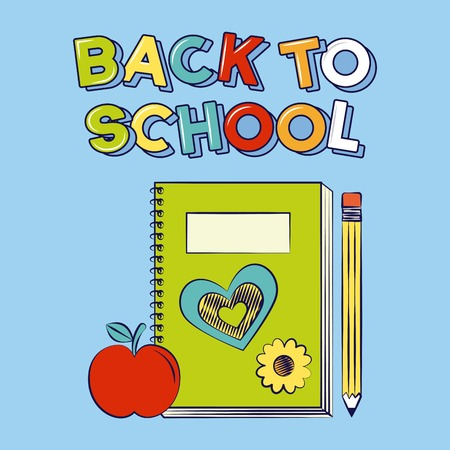 notebook pencil apple back to school vector illustration
