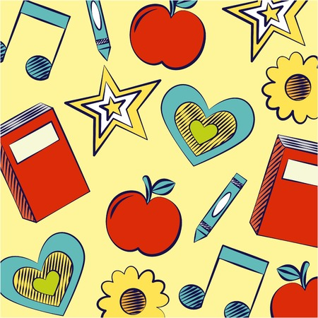 Arrière-plan apple book star note de musique retour à l'école vector illustration