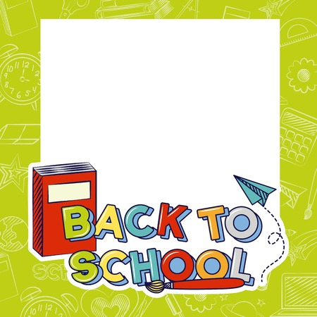 paper book paper plane and pencil back to school vector illustration