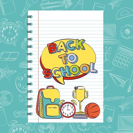 back to school book paper bag trophy clock vector illustration Vecteurs