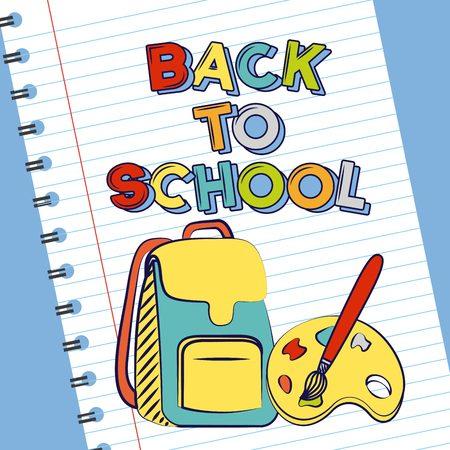 back to school paper book bag color palette vector illustration