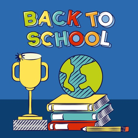 trophy world books pencil back to school vector illustration Foto de archivo - 125837594