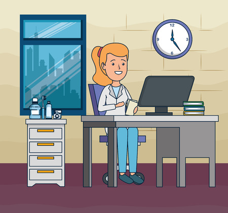 dentist woman in the office with computer and books vector illustration Illustration