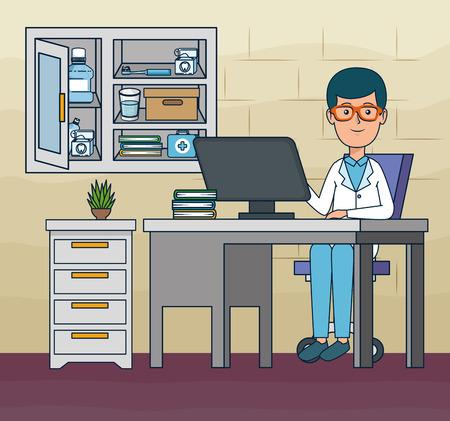 Zahnarzt-Mann im Büro mit Computer- und Büchervektorillustration