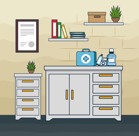 dentist office with mouthwash and toothpaste with toothbrush vector illustration Illustration