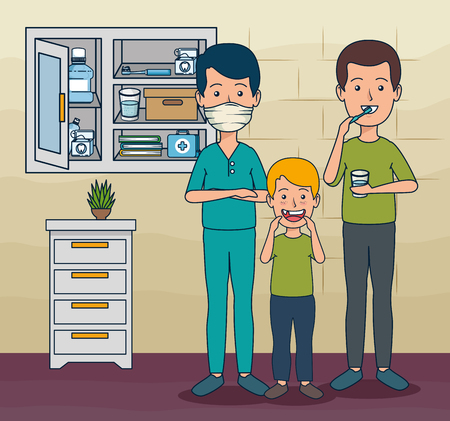 dentist man and patient boy and man to teeth care vector illustration